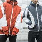 Two-tone Hooded Padded Zip Jacket