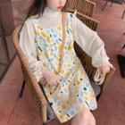 Long-sleeve Chiffon Top / Printed Pinafore Dress