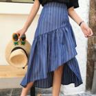 Striped Asymmetric Midi A-line Skirt