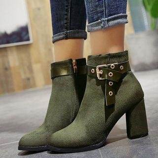 Chunky-heel Belted Almond-toe Ankle Boots