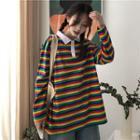 Long-sleeve Rainbow Stripe Polo Shirt