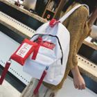 Lettering Canvas Backpack With Zip Pouch
