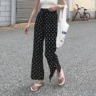 Dotted Side-slit Chiffon Wide-leg Pants