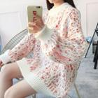 Patterned Mock Neck Long Sweater