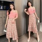 Set: One-shoulder Short-sleeve Top + Floral Print Asymmetric Midi A-line Skirt
