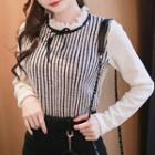 Frill-collar Stripe Knit Top