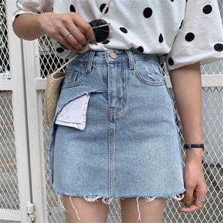 Asymmetric Frayed Hem A-line Mini Denim Skirt