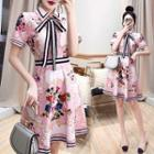 Short-sleeve Floral Chiffon Buttoned A-line Dress