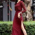Long-sleeve Lace Panel Sheath Midi Dress