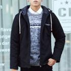Letter Embroidered Hooded Padded Jacket