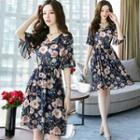 Ruffle Sleeve Floral Chiffon Dress