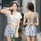 Set: Printed Swim Top + Skirt