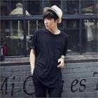 Raglan-sleeve Pocket-front T-shirt