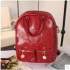 Faux Leather Embossed Backpack