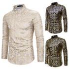 Long-sleeve Metallic Print Shirt