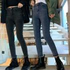 High-waist Fleece-lining Slim-fit Jeans