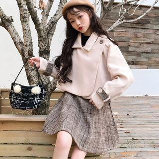 Collared Wrap Cropped Jacket / Plaid A-line Pinafore Dress