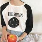 Raglan 3/4-sleeve Smiley Face T-shirt