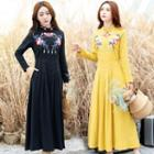 Long-sleeve Floral Embroidered Maxi A-line Dress