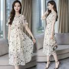 Cold-shoulder Floral Midi A-line Dress