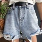 Rib Denim Shorts