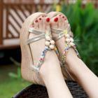 Platform Wedge Faux Pearl Sandals