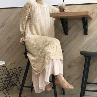 3/4-sleeve Maxi Pointelle Knit Dress / Strappy Maxi Dress
