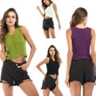 Pointelle Knit Cropped Tank Top