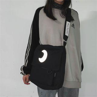 Reflective Crescent Print Canvas Messenger Bag