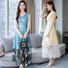 Embroidered Sleeveless Midi Mesh Dress