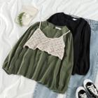 Plain Long-sleeve Loose-fit Blouse / Camisole Top