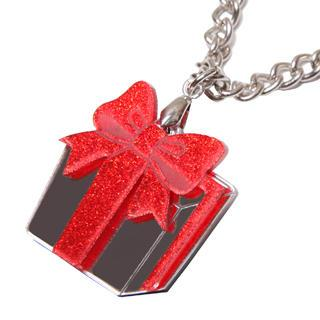 Sweet Red Glitter Present Chain Silver Necklace