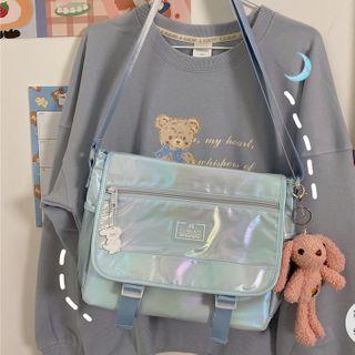 Buckled Iridescent Messenger Bag