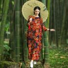 Flower Print 3/4-sleeve Maxi Dress