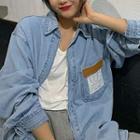 Long-sleeve Applique Denim Shirt Shirt - Denim Blue - One Size