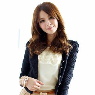 3/4-sleeve Lace-trim Top