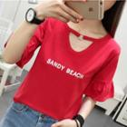 Letter Cutout Short-sleeve Top