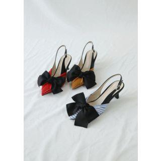 Beribboned Pointy Slingback Stilettos