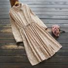 Printed Drawstring Long-sleeve Midi Collared Dress