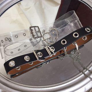 Transparent Belt / Chain Strap Faux Leather Belt