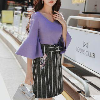 Embroidered Striped Mini A-line Skirt