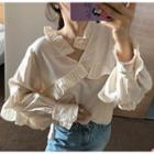 Frill-trim Blouse Almond - One Size