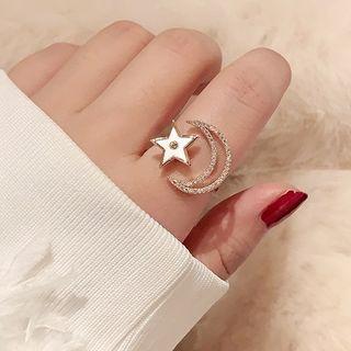 Rhinestone Crescent & Star Ring Gold - One Size