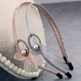 Faux Pearl Bow Headband