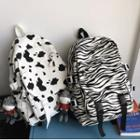 Printed Buckled Canvas Backpack