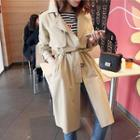 Hidden-button Trench Coat With Belt