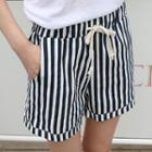 Turnup-hem Striped Shorts