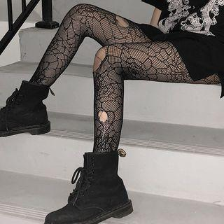 Spiderweb Patterned Mesh Tights Black - One Size