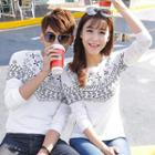 Long-sleeve Printed Couple Pullover