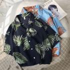 Collared Printed Short-sleeve Shirt